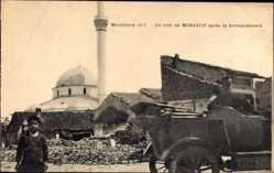 Postcard Monastir Bitola Mazedonien, Un coin apres le bombardement, Minarett, Moschee