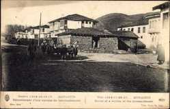Postcard Bitola Monastir Mazedonien, Enterrement d'une victime du bombardement