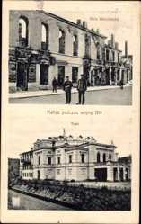 Ak Kalisz Kalisch Posen, Ulica Warszawska, Teatr, Theater, Straßenpartie