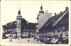 Postcard Maribor Marburg Drau Slowenien, Marktplatz, Turm, Geschäfte