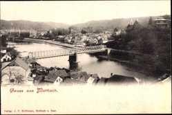 Postcard Mettlach im Kreis Merzig Wadern Saarland, Flusspartie, Brücke, Wohngebiet