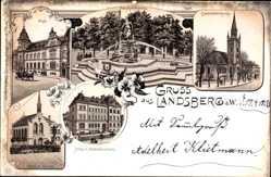Litho Gorzów Wielkopolski Landsberg Warthe Ostbrandenburg, Post, Kirche, Schule