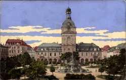 Postcard Mannheim in Baden Württemberg, Kaufhaus, Fontäne