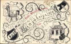Studentika Ak Trier in Rheinland Pfalz, Ein Jährige 1909, Wilhelmsgymnasium