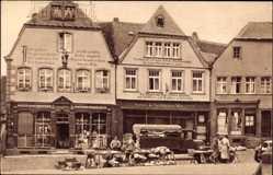 Postcard St. Wendel in Saarland, Häuser mit Bekenntnissprüchen am Domplatz