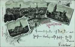 Mondschein Litho Neunkirchen im Siegerland Nordrhein Westfalen, Kirchen