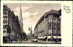 Postcard Hamburg, Straßenbahn in der Mönckebergstraße, Kirche, Geschäfte