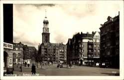 Postcard Hamburg, Blick auf den Schaarmarkt mit Hamburger Michel