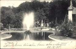 Postcard Rheydt Mönchengladbach, Blick in den Kaiserpark mit Brunnen