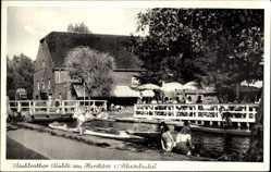 Postcard Schwalmtal, Mühlrather Mühle, Hariksee, Terrasse, Ruderboote, Passanten
