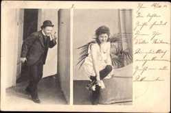 Ansichtskarte / Postkarte Frau in Unterwäsche, Spanner, Strümpfe, Erotik, Badewanne