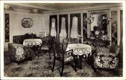 Postcard Dampfer Hamburg, HAPAG, Damenzimmer, 1. Klasse