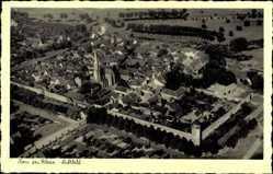 Postcard Zons Dormagen, Luftblick mit Kirche im Zentrum