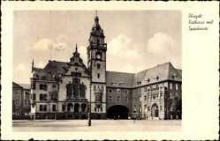 Postcard Rheydt Mönchengladbach, Blick auf das Rathaus mit Sparkasse, Uhr, Platz