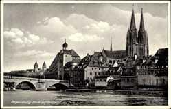 Postcard Regensburg an der Donau Oberpfalz, Blick auf Brücktor mit Dom