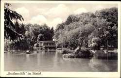 Postcard Burscheid, Blick auf die Bruchermühle im Ittertal, Ruderboot, See