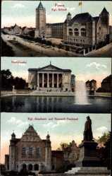 Ak Poznań Posen, Kgl. Schloss, Stadttheater, Kgl. Akademie, Bismarckdenkmal