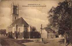 Ak Słońsk Sonnenburg Ostbrandenburg, Schlossplatz mit Johanniter Ordenskirche