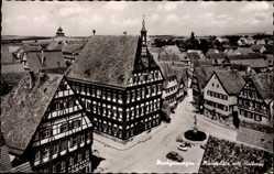 Postcard Markgröningen im Kreis Ludwigsburg, Marktplatz mit Rathaus und Brunnen