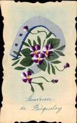 Handgemalt Ak Souvenir de Bicquelec, Hufeisen, Violette Blüten