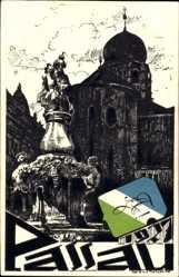 Studentika Künstler Ak Brunner, Passau, Denkmal und Kirche 1927