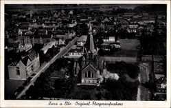 Postcard Riesa an der Elbe Sachsen, Blick auf den Ort, Kirche, Fliegeraufnahme