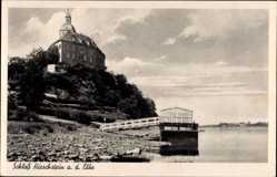 Ansichtskarte / Postkarte Hirschstein an der Elbe, Blick auf Schloss Hirschstein, Flusspartie