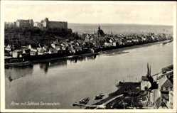 Ansichtskarte / Postkarte Pirna Sachsen, Partie an der Elbe mit Schloss Sonnenstein