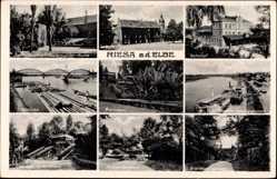 Ansichtskarte / Postkarte Riesa an der Elbe, Elbbrücke, Bahnhof, Stadtpark, Landungsplatz