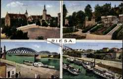 Postcard Riesa an der Elbe, Elbbrücke, Landungsplatz, Rathaus, Stadtpark
