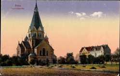 Postcard Riese Elbe, Blick auf die Trinitatiskirche, erbaut 1895