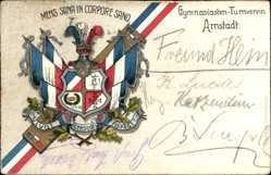 Studentika Litho Arnstadt Thüringen, Gymnasiasten Turnverein, Fahnen, Wappen