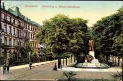 Postcard Mannheim in Baden Württemberg, Kaiserring und Bismarckdenkmal