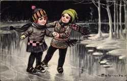 Künstler Ak Colombo, E., Zwei Kinder laufen Schlittschuh