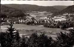 Postcard Eschenbach Fränkische Schweiz, Stadtpanorama, Felder, Glockenturm, Waldhang