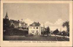 Postcard Engelskirchen Aggertal, Blick auf Katholische Kirche, Schule und Rathaus