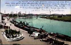 Postcard Riesa an der Elbe Sachsen, Blick übe die Hafenanlagen, Frachtschiffe