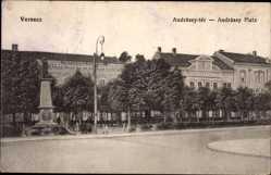Postcard Versecz Serbien, Andrassy ter, Andrassy Platz, Denkmal