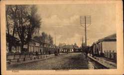 Postcard Kowel Ukraine, Partie in der Bahnhofstraße, Telefonmast