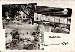 Postcard Thumsenreuth Krummennaab, Gasthof Hör, Inh. G. Hör, Innenansicht, Garten