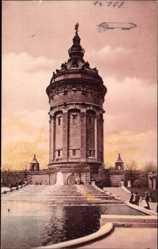 Postcard Mannheim, Blick auf den Wasserturm und Brunnen