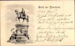 Postcard Mannheim in Baden Württemberg, Blick auf das Kaiserdenkmal