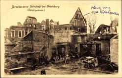 Ak Szczytno Ortelsburg Ostpreußen, Zerschossene Ortschaft, Kriegszerstörungen