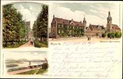 Litho Riesa an der Elbe Sachsen, Rathaus und Klosterkirche, Elbbrücke