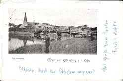 Ak Czerwieńsk Rothenburg Oder Ostbrandenburg, Totalansicht mit Brücke