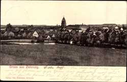 Ak Zielenzig Sulecin Ostbrandenburg, Blick auf den Ort, Kirchturm, Feld