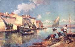 Künstler Ak Gagliardini, Julien Gustave, Rive heureuse, Hafen, Fischerboote
