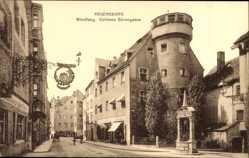 Postcard Regensburg an der Donau Oberpfalz, Wiedfang, Goldene Bärengasse, Brunnen
