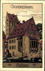 Steindruck Ak Bad Gandersheim, Blick auf das Rathaus