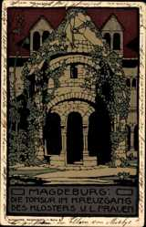 Steindruck Ak Magdeburg, die Tonsur im Kreuzgang des Klosters